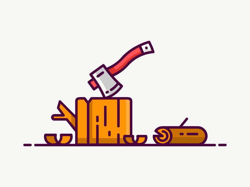 Woodcutter Icon vector illustration flat icon wood axe