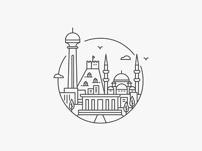 ANKARA icon illustration badge line ankara