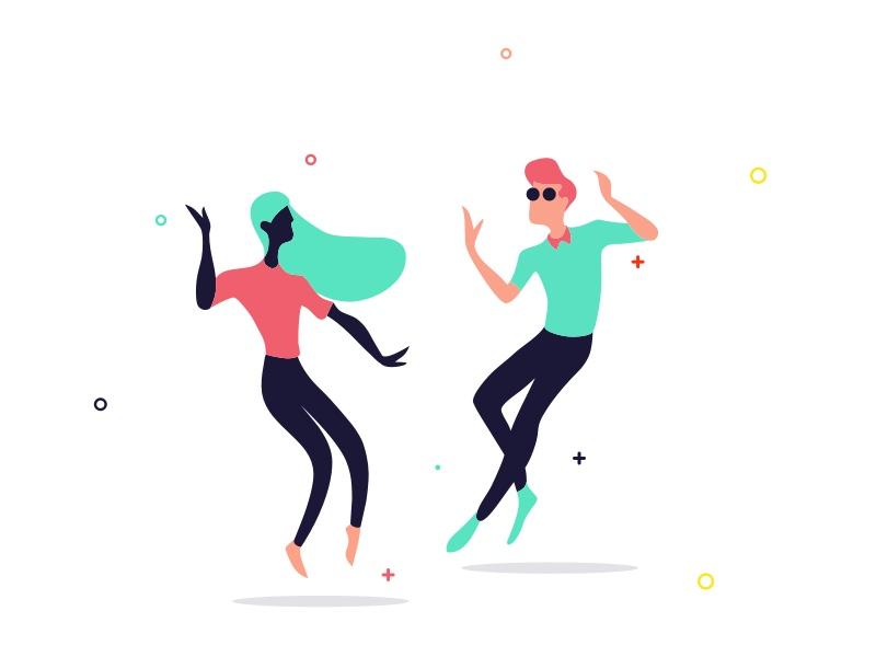 Dancing vector illustration character dancing