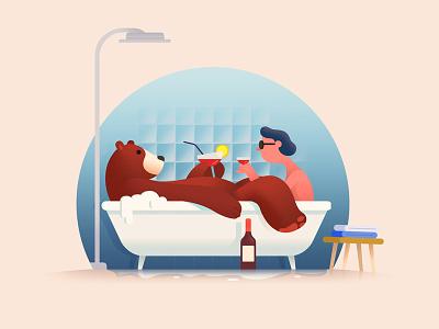 Intruder / 3 intruder fear funny series illustration bathroom bear