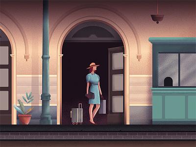 Terminal noise grain terminal coloring illustration woman train