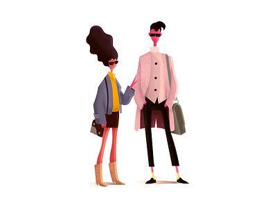 Fashion Dudes fashion style dude man girl drawing concept illustration
