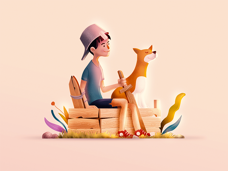Good fellas friends drawing dog child style istanbul porject colour illustration character design