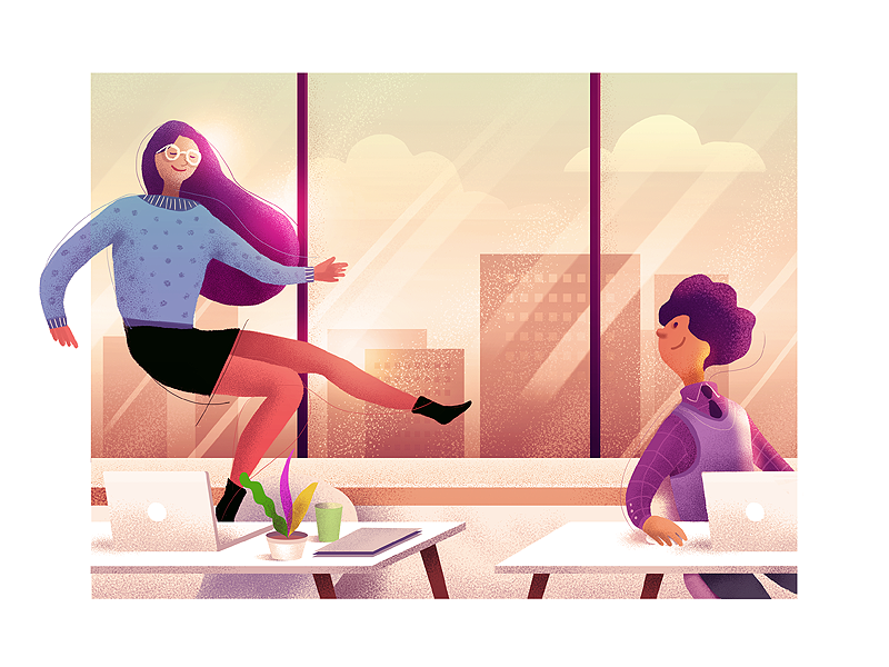 End of the day company work office day off girl illustration