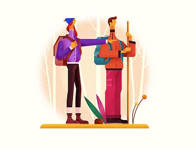 Trekking Dudes trekking nature color digital paint drawing dudes camping illustration
