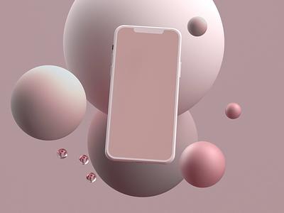 iPhone Mockup geometric mograph graphic design loop minimalist minimal iphone rose pink animation mobile mockup ux ui motion graphics color design cinema4d c4d 3d