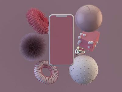 iPhone mockup 3d c4d cinema4d designe color motion graphics ui ux mockup mobile animation pink rose iphone minimal minimalist loop graphic design mograph geometric