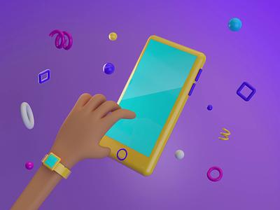 Phone mockup ux mockup phone hand minimal minimalist ui animation motion graphics design color cinema4d c4d 3d