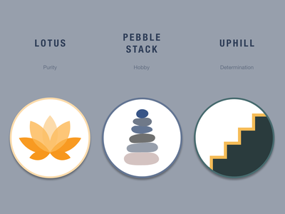 Mental Health Identity Exploration app icon logodesign mind identity logo options stack pebbles lotus uphill nurture health vector branding logo therapy wellbeing