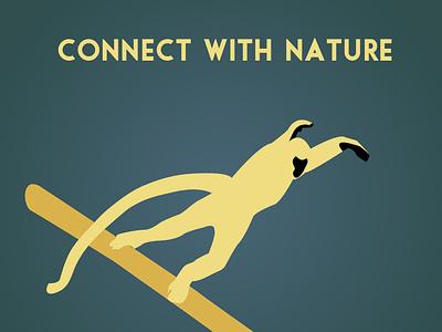 Illustration - Visit the Zoo 3 vector illustration poster monkey langur zoo design flat branding