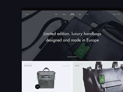 Fashion shop ux ui black dark leather bag handbag luxury ecommerce shop fashion