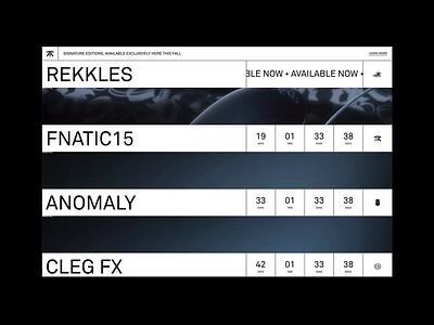 Fnatic Signature Mice animation ui minimal black and white brutalist fnatic gaming digital mice website