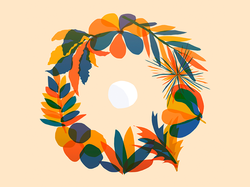 Summer Breeze vector art flat drawing complementary nature colors ring moon circle flowers illustration