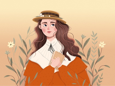The reader video beautiful flowers clothes vintage hat read reading book girl branding nature flat plants design vector illustration character animation 2d
