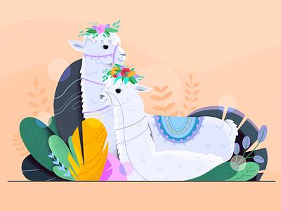 The Llamas nature flower branding plants design lama animals illustration animation 2d