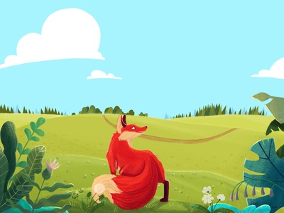 Wild and free sky landscape looking search prince little design cartoon trees fox plants nature illustration animation 2d