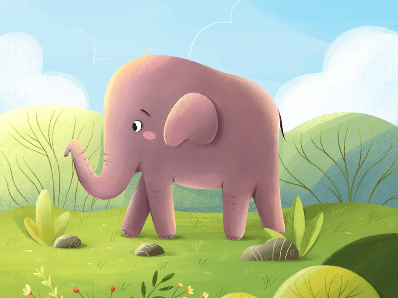 The Little Elephant | Children's book illustration designs kids book zoo nature art elephant nature plants vector design character illustration animation 2d