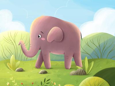 The Little Elephant | Children's book illustration designs kids book zoo nature art elephant nature plants vector design character illustration animation 2d