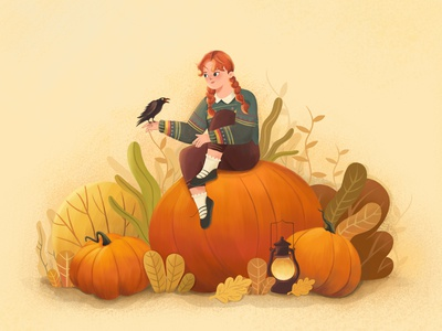 Autumn Mood helloween pumkin nature flat video girl plants vector design character illustration animation 2d