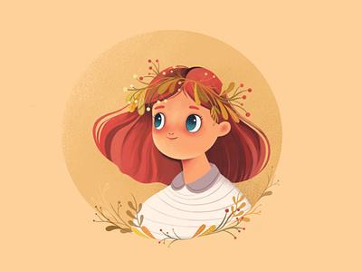 Autumn girl | character design art concept cartoon happy mood leaf autumn branding nature girl vector design character illustration animation 2d