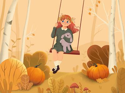 Sweet Swinging design branding autumn nature toy girl vector character illustration animation 2d