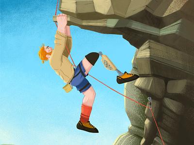 Keep Fighting climbing man rocks boy vector design character illustration animation 2d