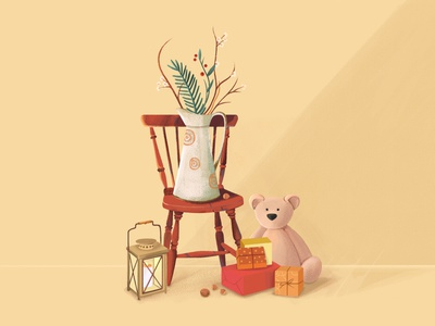 Christmas staging happy 2021 new year new chair gift lamp toy christmas tree ux branding ui nature vector design character illustration animation 2d