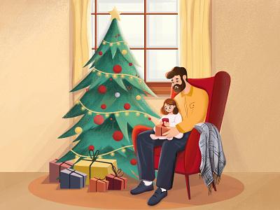 Christmas gifts tree christmas nature father kids illustration kids girl boy design character illustration animation 2d