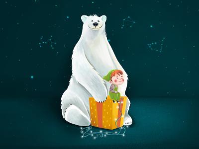 Polar Bear With Elf elf bear nature boy vector character illustration animation 2d