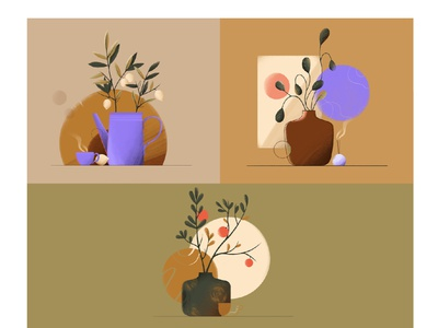 Still Life Collage sale lime tea cup nature flat plants vector design illustration animation 2d