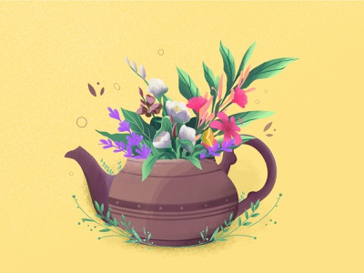 Flowers teapot flower nature plants vector design illustration animation 2d