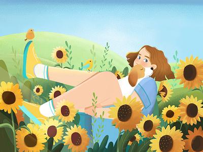 Sunflower Mood dog flower nature girl branding vector design character illustration animation 2d