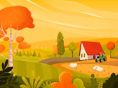 Autumn in the Farm autumnvibes farmlife background farm colors autumn illustration branding design vector