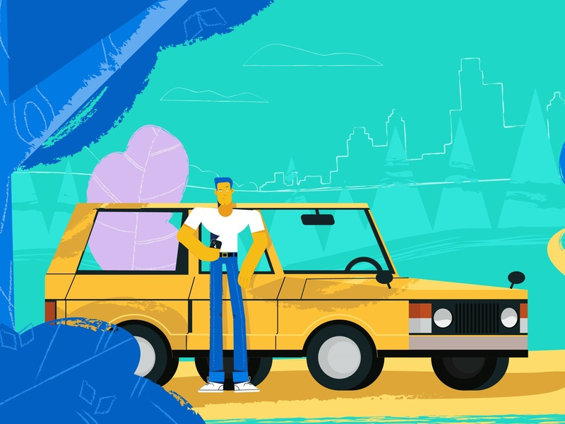 Man with car animations video blue green yellow car smartphone nature trees plants man illustration design city boy character animation 2d