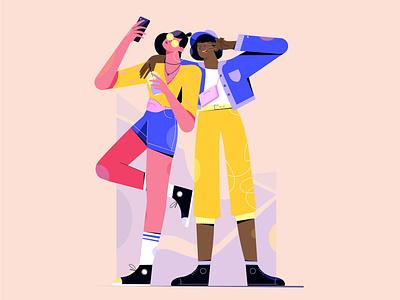 Friends selfie flat branding smartphone phone character design girl girlfriend friend selfie illustration animation 2d