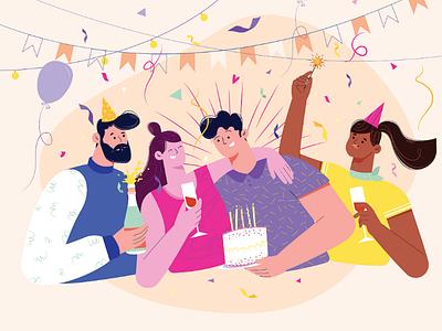 Happy birthday party style studio cartoon storyboard animation 2d illustration man boys girls party birthday