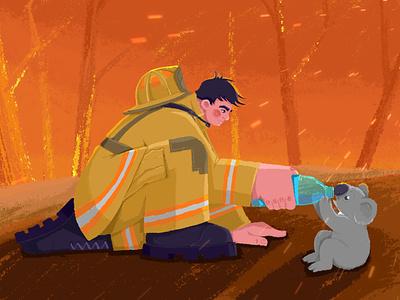 Care for animals care bottle nature fireman water koala australia fire man video plants vector boy design character illustration animation 2d