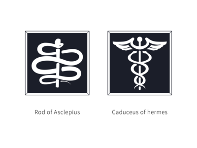 Rod of Asclepius & Caduceus of hermes