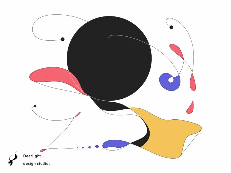 Line dribbble deerlight design illustration
