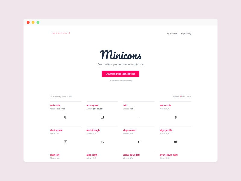 Minicons ui landing page interface website web open-source free svg iconset icons minicons