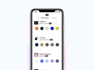 The Colorbook Mobile UI minimal ui app mobile palette color interface light bright colorbook