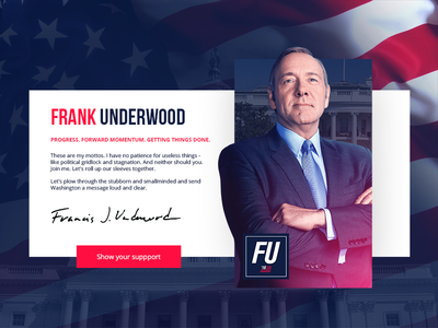 DailyUi #3 - House of Cards webdesign 2016 fu underwook frank cards of house