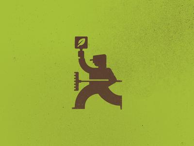 Bid My Lawn Logo logo lawn bid man person leaf
