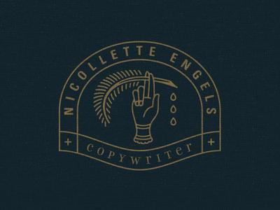 Copywriter Logo writing gold quill hand copywriting copywriter logo