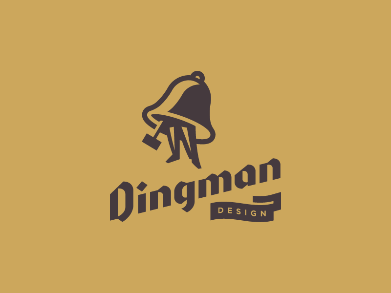 Personal Brand blackletter dingman person hammer man ding bell typography logo