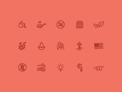 Icon Set line icons seattle food icon