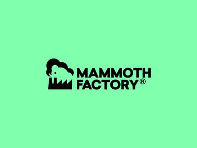 Mammoth Factory Logo negative design web cloud logo factory mammoth