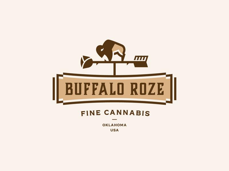 Buffalo Roze Logo oklahoma marijuana cannabis rose weathervane bison buffalo branding logo design logo