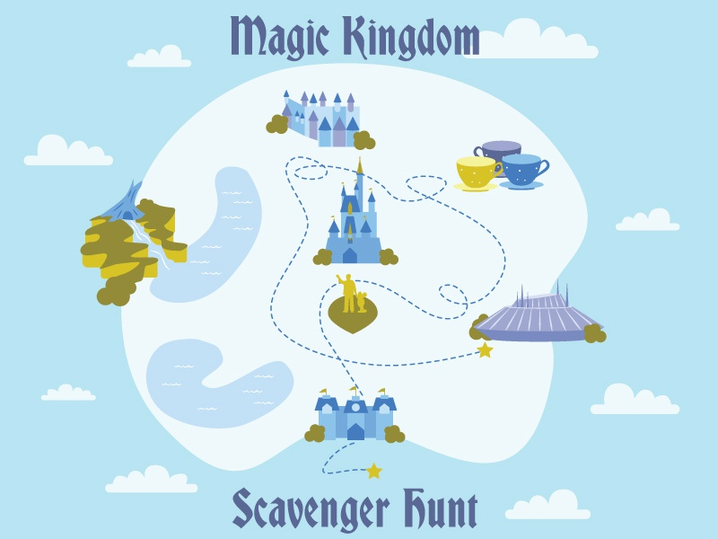 Magic Kingdom Scavenger Hunt scavenger hunt disney teacups disneyworld map map its a small world splash mountain space mountain cinderellas castle disneyworld magic kingdom
