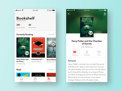 Bookshelf and Details recommendations mobile ios rate bookshelf ux ui interface book details book app book app